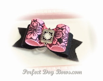 Pink Dog Hair Bow for Girls, Pink Puppy Dog Bow, Yorkie Dog Bow