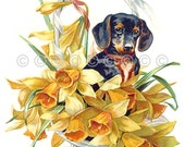 Dachshund Cotton Fabric Quilt Block, Basket Flowers Quilt Applique Fabric Panel, Quilting, Crafting, Sewing