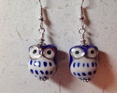 Ceramic Owl  Earrings Royal Blue  and White on Silver   What a Hoot