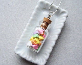 Conversation Hearts Candy Jar Pendant Necklace - polymer clay miniature food jewelry