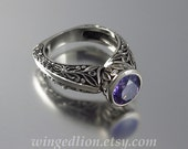 Engagement ring THE CROWNED COUNTESS silver & Amethyst