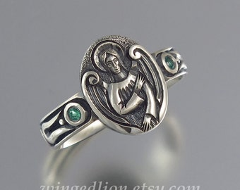 ANGEL'S SEAL Silver Signet Ring with Emerald accents