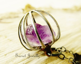 Cage Crystal Pendant, Raw Amethyst Necklace, Birthstone Necklace, Aquarius, Stainless Steel Pendant, Rough Gemstone, Industrial Jewelry
