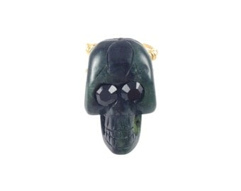 Skull Ring - Black Onyx - Black Swarovski Crystals
