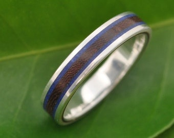 Lados Lapiz Nacascolo Striped Wood Ring with Recycled Sterling Silver, Stone and Wood Wedding Ring, Wood Wedding Band