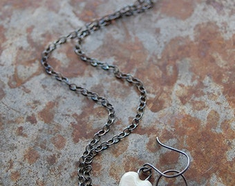 Pure Love / Frost Tone Ceramic Heart Necklace and Earring Set