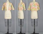 edwardian jacket / silk / feather stitch / STAINED GLASS cropped jacket