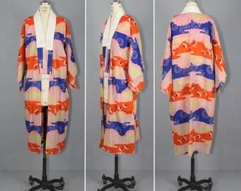 vintage kimono / muslin / oriental / CRANES IN FLIGHT  antique kimono