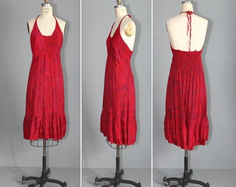 vintage sundress / batik / halter / LONG DAYS bohemian dress