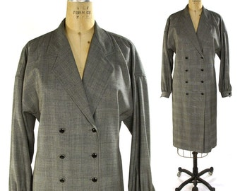 80s Emanuel Ungaro Dress / Vintage 1980s Grey Glen Plaid Double Breasted Shirt Dress