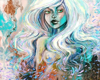 Nude surreal abstract print reproduction by Aja 8x10, 11x14, 16x20, 20x24 inches choose size Chloris