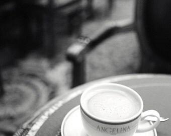 "Paris Photography, Black and White Photography, Kitchen Decor, Paris Cafe, Kitchen Art, Coffee Cup, Home Decor  ""Chez Angelina"""