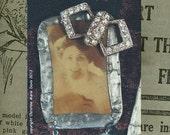 SALE....oh my darlin' oh my darlin' oh my darlin' clementine... victorian steampunk found object assemblage brooch