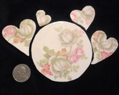 Mosaic China Focal Tile with Matching Hearts / Shabby Chic Roses / LOW SHIPPING