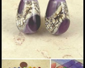 Teardrop Lampwork Glass Bead Pair with Organic Web Small Violet