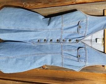 Vintage Blue Jean Denim Sleeveless Romper by Tickets size 9 B38