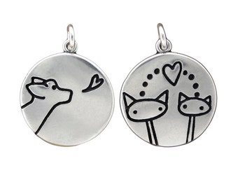 Dog and Cat Necklace - Reversible Sterling Silver Dog and Cat Pendant