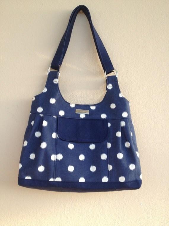Fabric Purse, Navy Blue Canvas Bag, Dots Fabric Bag, Shoulder Bag ...