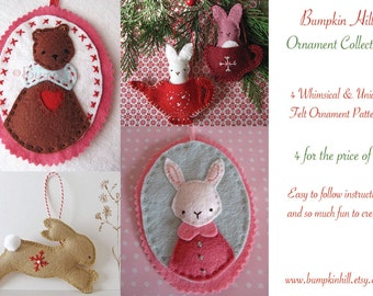 Felt Christmas  Ornament Pattern Collection - 4 for the price of 3 Christmas decoration embroidery pattern
