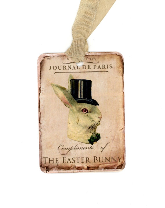 Easter gift tags easter bunny tags easter rabbit vintage like this item negle Choice Image