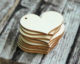 10 . Wood Heart Tags . Rustic Wedding Favor Tags . 2 3/8 inch Wood Hearts . DIY Wedding Favors . Unfinished Wood . Bridal Shower Favors
