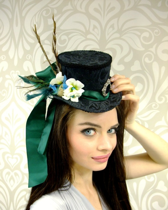 ON SALE, Mini Top Hat, Black Top Hat, Steampunk Hat, Victorian Mini Top Hat, Black Peacock Mini Top Hat, Mini Top Hat, Peacock Feather Hat