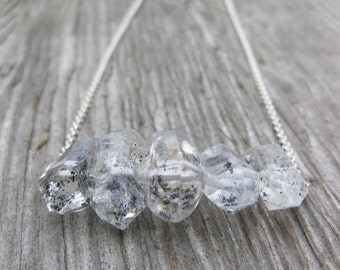 HERKIMER DIAMOND necklace twin pointed quartz crystals
