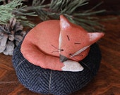 Primitive Fox Pincushion, Primitive Pinkeep, Fox Home Decor, Handmade Pinkeep