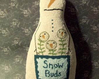 Needle Punch Pattern Primitive Snowman Snow Flowers