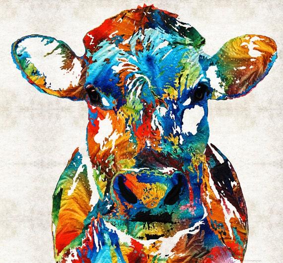 Célèbre Vache colorée Animal PRINT Art de la peinture de couleurs BW97