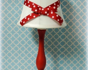 Red and White Polka Dot Country Cottage Chic Candlestick Lamp, Hand Painted Country Decor