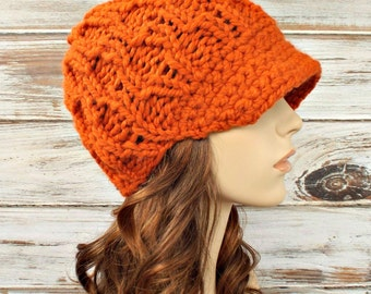 Knit Hat Womens Hat Orange Newsboy Hat - Amsterdam Beanie Orange Knit Hat Orange Hat Orange Beanie Womens Accessories - READY TO SHIP
