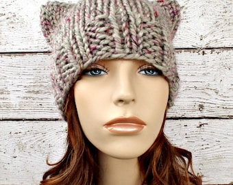 Knit Hat Womens Hat - Cat Beanie Hat in Shadow Frost Tweed Grey Knit Hat - Grey Hat Grey Beanie Grey Cat Hat Womens Accessories Winter Hat