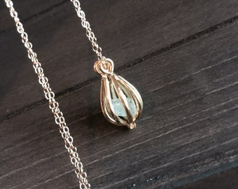 Apatite Stone in Gold Cage Necklace