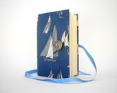 Blue journal notebook sailboat journal diary Handmade journals lined journal writing journal fabric journal notebook blue ships journal