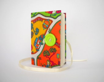 Colorful childrens journal notebook, Writing fabric journal bound with lined paper, Lined journal diary, Colorful map, Pregnancy journal