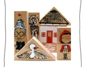 fairytale mashup wooden blocks and puzzle- stacking toy-art