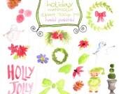 Digital Clipart Hand Drawn Watercolor HOLIDAY THEME  Elves Snowman Laurel