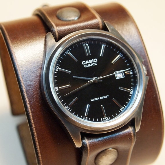 Leather cuff watch Brown Nathan Drake style Uncharted 2 Unisex vintage watch Handmade for YOU in NYC by Freddie Matara!