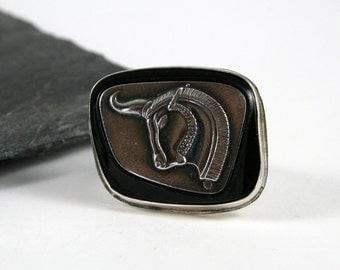 Rams Head Sterling Silver Men's Ring, Ornate Band, Former Cufflink