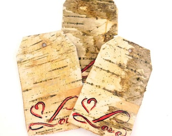 """3 Real Birch Bark  Valentine or Love Tag, Sign, Gift Tag or Label. 3"""" by 1 7/8"""" or 7 cm by 4.5 cm"""