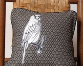Freehand Stitched Drawn Indigo Bunting Pillow