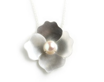 Sterling silver and Pearl Necklace - Silver and Pearl Pendant - Flower Necklace - Poppy Flower