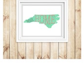 North Carolina Art Print. State Art Print. Home Sweet Home. Digital art print. instant download. printable art. printable file. NC art print