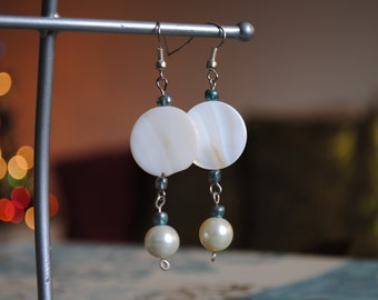 White Shell and  Blue and Silver Beaded Earrings