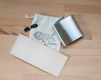 Leather and Stainless Steel Flask Kit - DIY Monogram Flask! - 4oz, 6oz, 8oz or 12oz