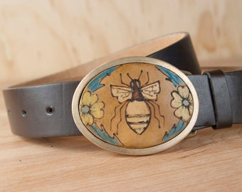 Belt Buckle - Bronze Belt Buckle - Bee Belt Buckle - Honeybee - Melissa Pattern - bee & flowers in gold turquoise antique brown - Oval