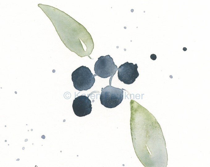 "Original watercolor painting:  ""Blueberries"""