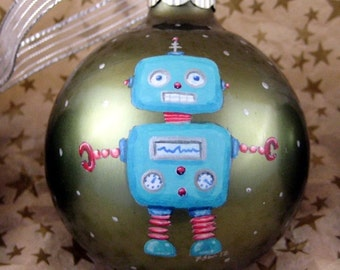 Retro Robot Space Ornament - Hand Painted Robot Ornament - Glass Robot Ornament