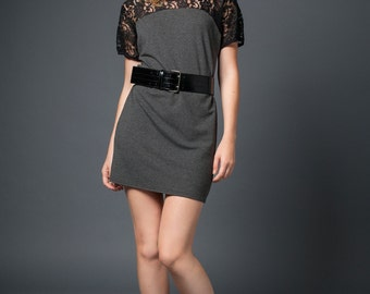 Party dress in Lace and bamboo french terry jersey - short sleeves